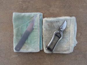 接ぎ木ナイフと剪定鋏